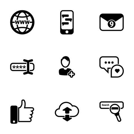 Set of simple icons on a theme Thumb up, conversations, social communications, networks, internet, vector, set. White background