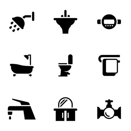 Set of simple icons on a theme Plumbing, shower, bathroom, coziness, bathroom, vector, set. White background