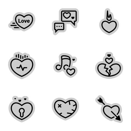 Icons for theme Heart, love, relationship, vector, icon, set. White background