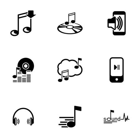 Set of simple icons on a theme Music, sound, vector, set. White background Vettoriali