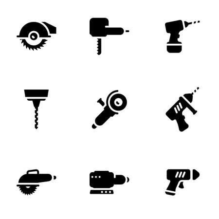 Set of simple icons on a theme electric work tools, vector, set. White background