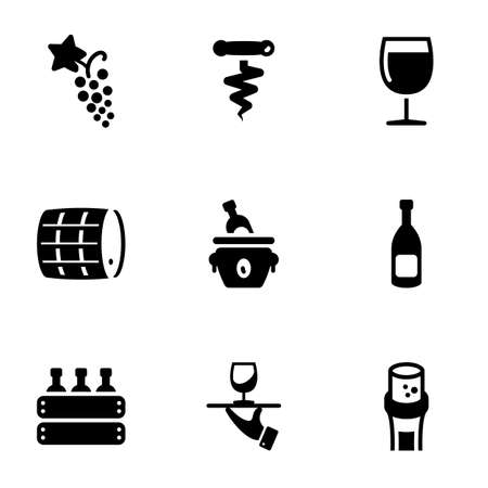 Set of simple icons on a theme Wine, alcoholic drink, storage, drink, vector, set. White background 矢量图像