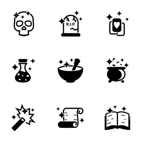 Set of simple icons on a theme Magic, Magician, Magic, vector, set. White background