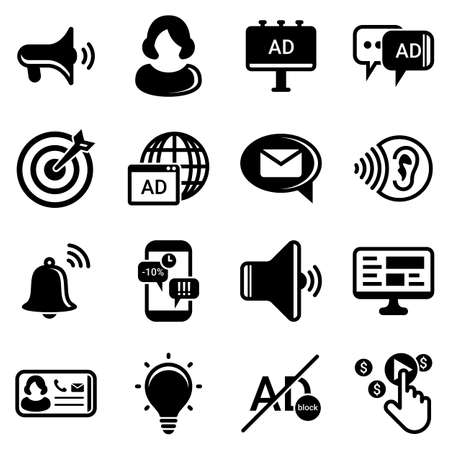 Set of simple icons on a theme Advertising, marketing, business, news, work, telemarketing, promotion, communication, internet, vector, set. Black icons isolated against white background
