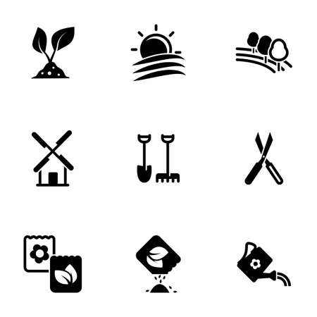 Set of simple icons on a theme Garden, garden, farming, farm, vector, set. White background Ilustração