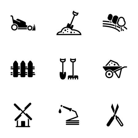 Set of simple icons on a theme Agriculture, plot, garden, vector, set. White background