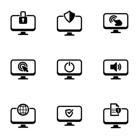 Set of simple icons on a theme Computer, monitor, service, interaction, vector, set. White background 向量圖像
