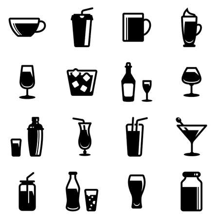 Set of simple icons on a theme Restaurant, alcohol, glass, dishes, drinks, bar, cold, hot, strong, vector, set. Black icons isolated against white background