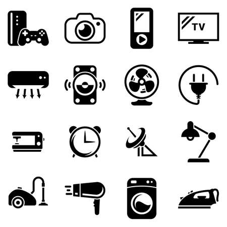 Set of simple icons on a theme Home, home appliances, household, vector, design, collection, flat, sign, symbol, element, object, illustration. Black icons isolated against white background Stock Illustratie