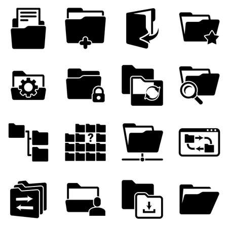 Set of simple icons on a theme Folder, documents, files, vector, design, collection, flat, sign, symbol, element, object, illustration. Black icons isolated against white background