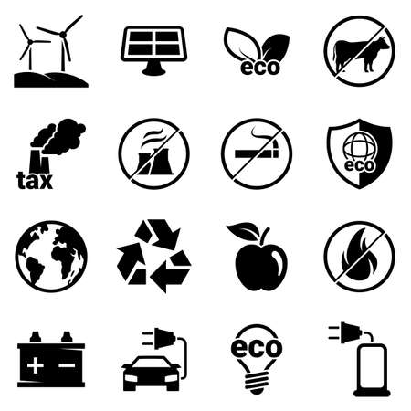 Set of simple icons on a theme Eco, vector, design, collection, flat, sign, symbol, element, object, illustration. Black icons isolated against white background