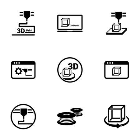 Set of simple icons on a theme 3D Printing, vector, design, collection, flat, sign, symbol, element, object, illustration, isolated. White background Vector Illustration