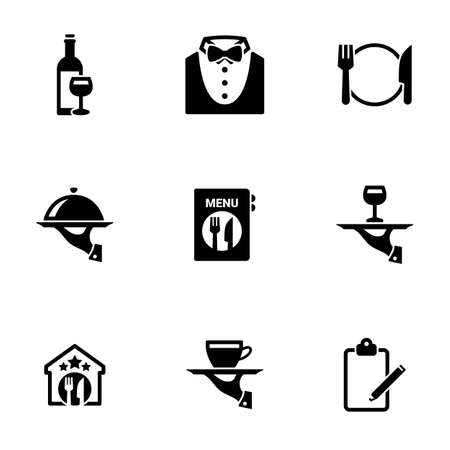 Set of simple icons on a theme Restaurant, vector, design, collection, flat, sign, symbol, element, object, illustration, isolated. White background