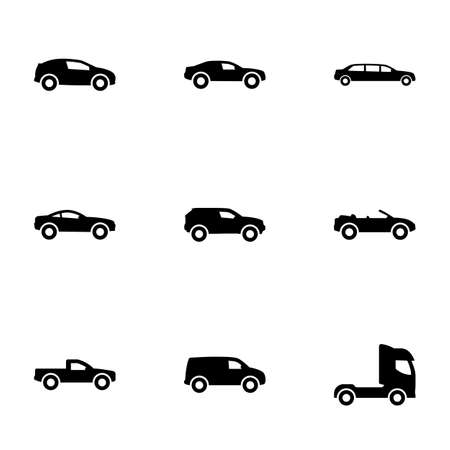 Set of simple icons on a theme Car, vector, design, collection, flat, sign, symbol, element, object, illustration, isolated. White background