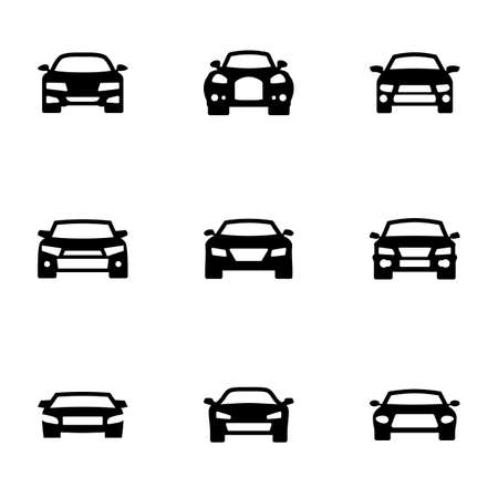 Set of black icons isolated on white background, on theme Car Ilustracja