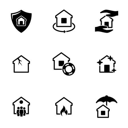 Set of simple icons on a theme Property insurance, vector, design, collection, flat, sign, symbol, element, object, illustration, isolated. White background