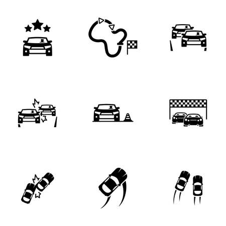 Set of simple icons on a theme Race, vector, design, collection, flat, sign, symbol, element, object, illustration, isolated. White background
