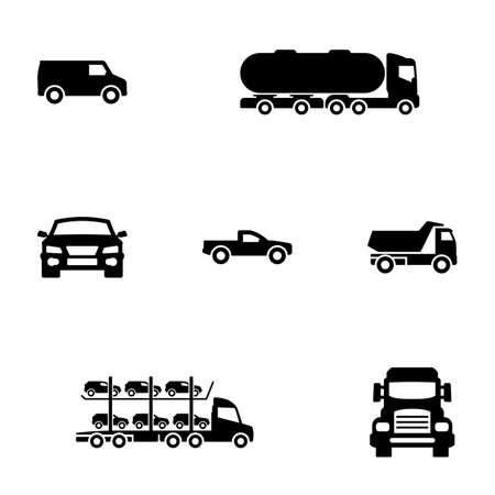 Set of black icons isolated on white background, on theme Car, Trucks