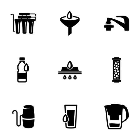 Set of black icons isolated on white background, on theme Water Purifier