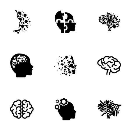 Set of black icons isolated on white background, on theme Brain