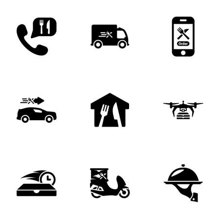 Set of black icons isolated on white background, on theme Food delivery