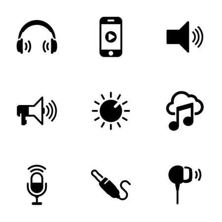 Set of black icons isolated on white background, on theme Music