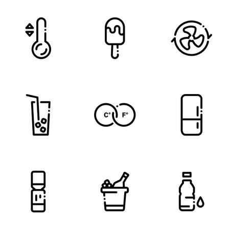 Set of black icons isolated on white background, on theme Cold drinks, ice cream and cooling systems Stock Illustratie