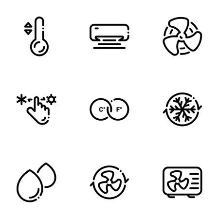 Set of black icons isolated on white background, on theme Air-conditioning Stock Illustratie