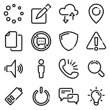Set of black icons isolated on white background, on theme menu interface