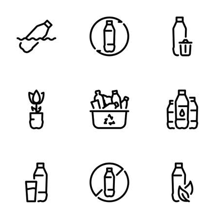 Set of black vector icons, isolated on white background, on theme Plastic, modern environmental problem