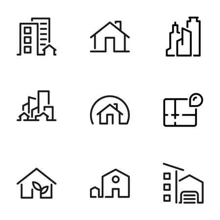 Set of black vector icons, isolated on white background, on theme House, apartment, office, skyscraper