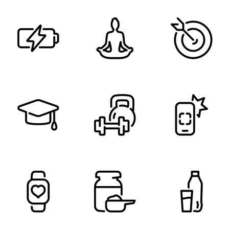 Set of black vector icons, isolated on white background, on theme Fitness & Training