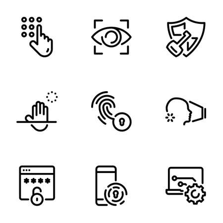 Set of black vector icons, isolated against white background. Illustration on a theme Methods of password verification and protection of personal information