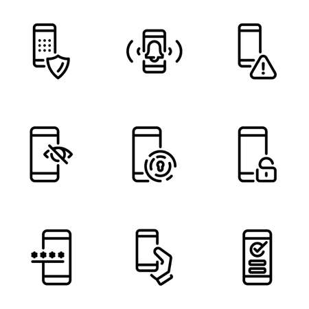 Set of black vector icons, isolated against white background. Illustration on a theme Password, how to enter and protect it