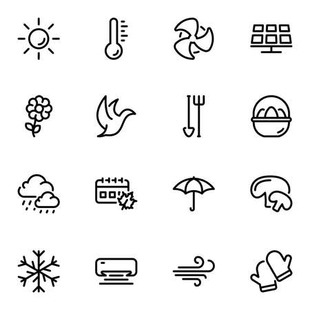 Set of black vector icons, isolated against white background. Illustration on a theme Seasons