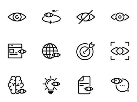 Set of black vector icons, isolated against white background. Illustration on a theme Eye Vektoros illusztráció
