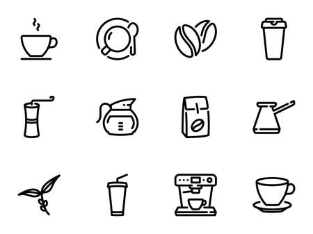 Set of icons on the theme of coffee
