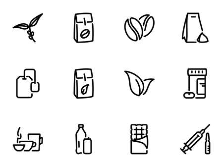 Set of black vector icons, isolated against white background. Illustration on a theme The main types of tea and coffee. Caffeine Çizim