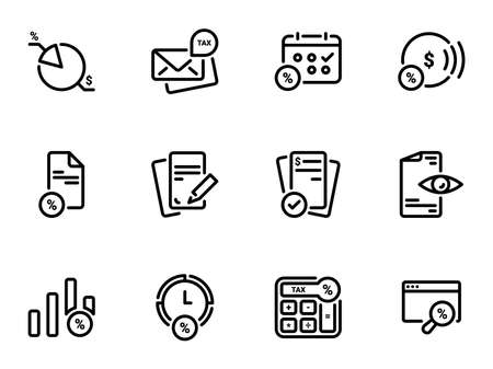 Set of black vector icons, isolated against white background. Illustration on a theme Tax instruments: calculation, documentation