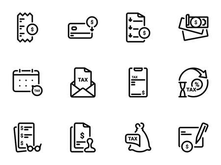 Set of black vector icons, isolated against white background. Illustration on a theme The sequence of work with the tax inspectorate