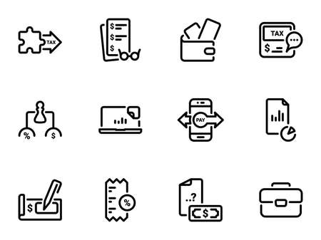 Set of black vector icons, isolated against white background. Illustration on a theme Tax Instruments and Payments