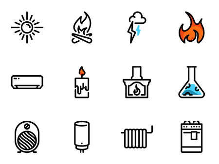 Set of black vector icons, isolated against white background. Illustration on a theme Heat source