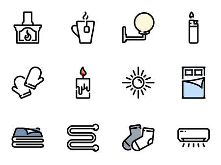 Set of black vector icons, isolated against white background. Illustration on a theme Heat sources and comfort Stock Illustratie