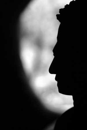 Silhouette-The face of Buddha in Asia Stock Photo