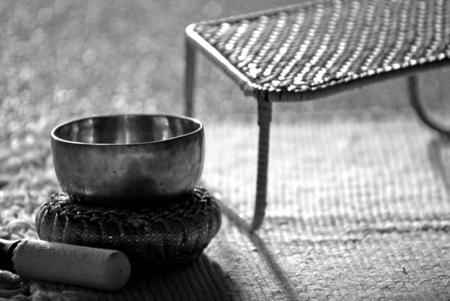 Close up shot of  singing bowl  Meditation and relax concept Stock Photo