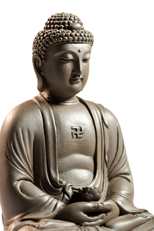 Zen Buddha sculpture on a white background.