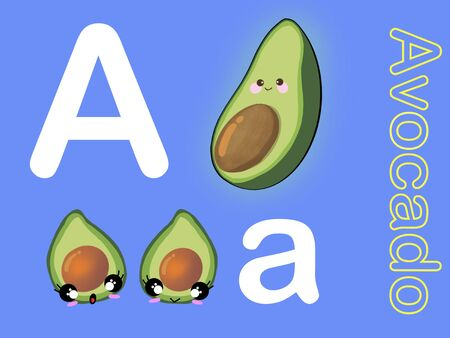 Cute alphabet letter A is for Avocado in fruits and veggies flashcard collection for preschool kid learning English vocabulary