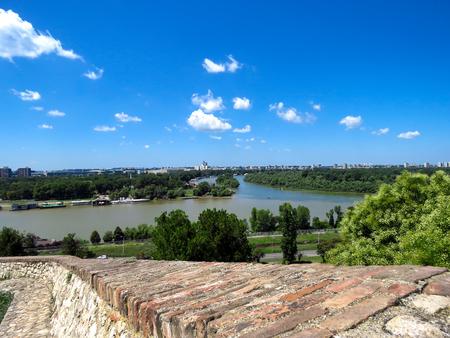 The confluence of the Sava river into the Danube river. Belgrade, Serbia.