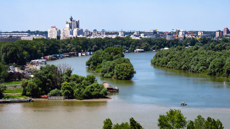 The confluence of the Sava river into the Danube river. Belgrade, Serbia.
