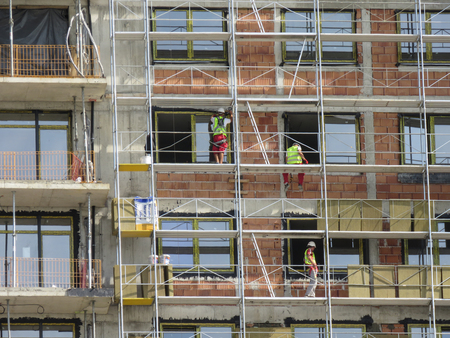 Belgrade, Serbia, September 20, 2018. Construction site in Belgrade Waterfront building complex. Worker safety on this site is mater of public attention after recent accidents.
